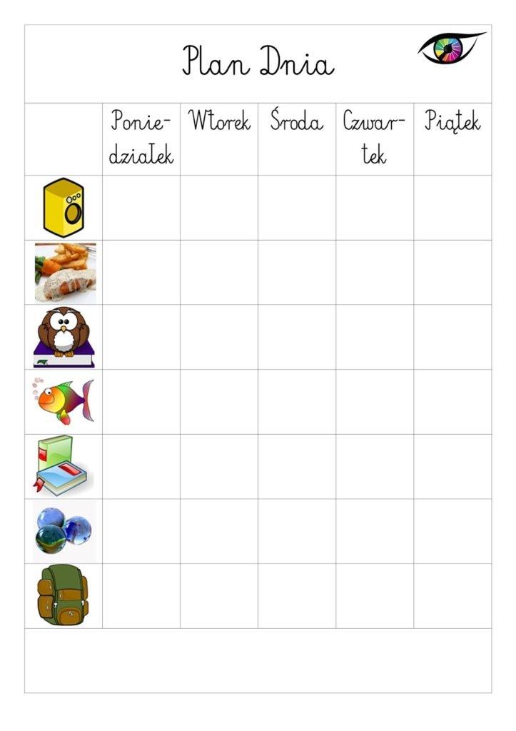 Świeże Plan dnia dla dziecka – wersja do druku ON16